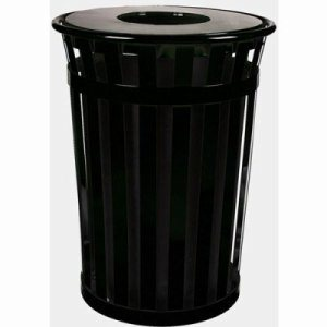 Witt 36 gal. Black Trash receptacle with flat top - Oakley Collection (WITT-M3601-FT-BK)