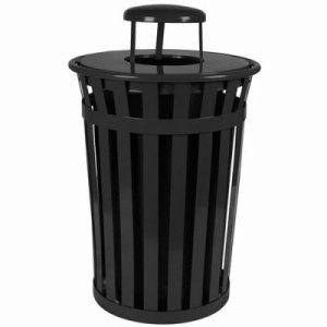 Witt 36 gal. Black Trash receptacle with rain cap - Oakley Collection (WITT-M3601-RC-BK)