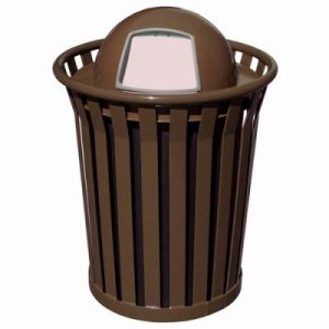 Witt 36 gal. Brown Trash Receptacle and dome top - Wydman Collection (WITT-WC3600-DT-BN)