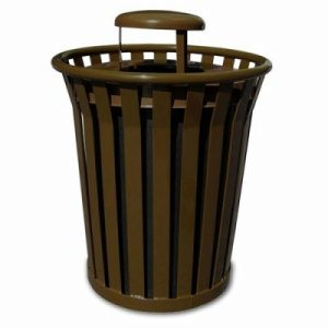 Witt 36 gal. Brown Trash receptacle and rain cap - Wydman Collection (WITT-WC3600-RC-BN)