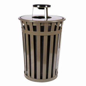 Witt 36 gal. Brown Trash receptacle with ash top - Oakley Collection (WITT-M3601-AT-BN)