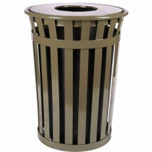 Witt 36 gal. Brown Trash receptacle with flat top - Oakley Collection (WITT-M3601-FT-BN)