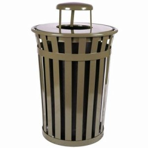 Witt 36 gal. Brown Trash receptacle with rain cap - Oakley Collection (WITT-M3601-RC-BN)