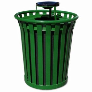 Witt 36 gal. Green Trash Receptacle and ash top - Wydman Collection (WITT-WC3600-AT-GN)