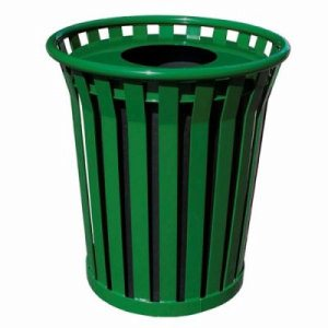 Witt 36 gal. Green Trash receptacle and flat top lid - Wydman Collection (WITT-WC3600-FT-GN)