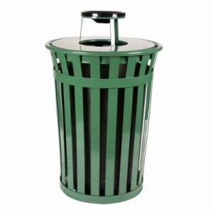 Witt 36 gal. Green Trash receptacle with ash top - Oakley Collection (WITT-M3601-AT-GN)