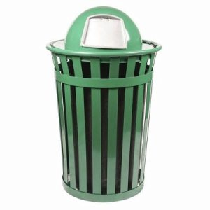 Witt 36 gal. Green Trash receptacle with dome top - Oakley Collection (WITT-M3601-DT-GN)