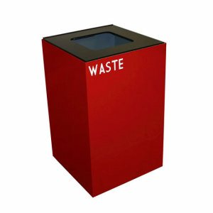 Witt 32 gal. Recycling Container, Red, Square Opening Top (WITT-32GC03-SC)