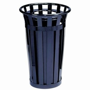 Witt 24 gal. Black Trash receptacle with flat top - Oakley Collection (WITT-M2401-FT-BK)