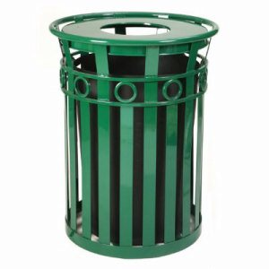 Witt 36 gal. Green Trash receptacle and flat top lid - Oakley Collection (WITT-M3600-R-FT-GN)