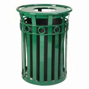 Witt 36 gal. Black Trash receptacle and rain cap - Oakley Collection (WITT-M3600-R-RC-BK)