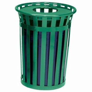 Oakley Collection 36 Gallon Flat Top Trash Can, Green (WITT-M3601-FT-GN)