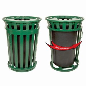 Witt 36 gal. Brown Trash receptacle with rain cap - Oakley Collection (WITT-M3601SD-RC-BN)