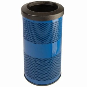 10 Gallon Outdoor Trash Can w/ Flat Top Lid, Blue (WITT-SC10-01-FT-BS)