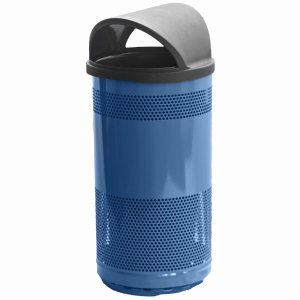 35 Gallon Outdoor Trash Can w/ Hood Top Lid, Blue (WITT-SC35-01-HT-BS)