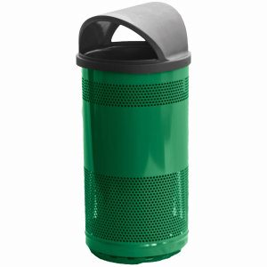 35 Gallon Outdoor Trash Can w/ Hood Top Lid, Green (WITT-SC35-01-HT-GN)