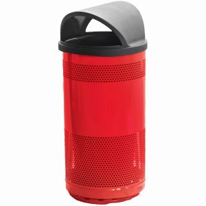 35 Gallon Outdoor Trash Can w/ Hood Top Lid, Red (WITT-SC35-01-HT-RD)