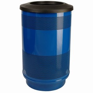 55 Gallon Trash Can, Stadium Series, Blue with Flat Top Lid (WITT-SC55-01-FT-BS)