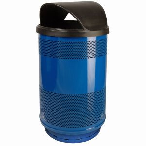 55 Gallon Trash Can, Stadium Series, Blue with Hood Top Lid (WITT-SC55-01-HT-BS)