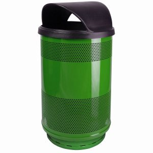 55 Gallon Trash Can, Stadium Series, Green w/ Hood Top Lid (WITT-SC55-01-HT-GN)