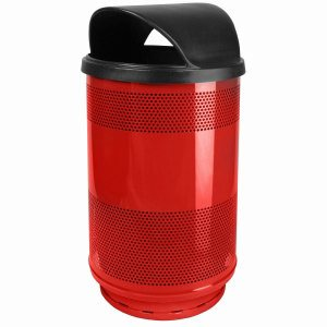 55 Gallon Trash Can, Stadium Series, Red with Hood Top Lid (WITT-SC55-01-HT-RD)