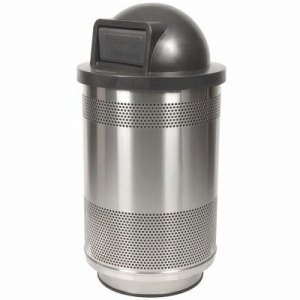 55 Gallon Trash Can, Stainless Steel with Dome Top Lid (WITT-SC55-01-SS-DT)