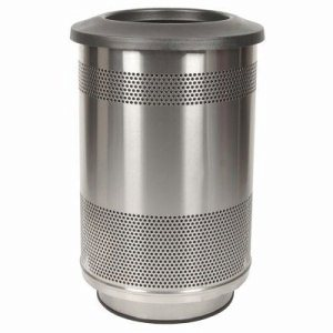 55 Gallon Trash Can, Stainless Steel with Flat Top Lid (WITT-SC55-01-SS-FT)