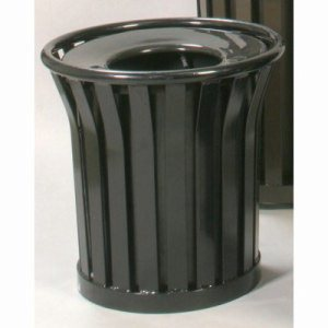 Witt 24 Gallon Trash Can w/ Flat Top Lid, Wydman Collection, Black (WITT-WC2400-FT-BK)