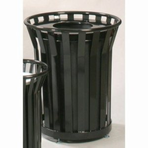 Witt 36 gal. Black Trash receptacle and flat top lid - Wydman Collection (WITT-WC3600-FT-BK)