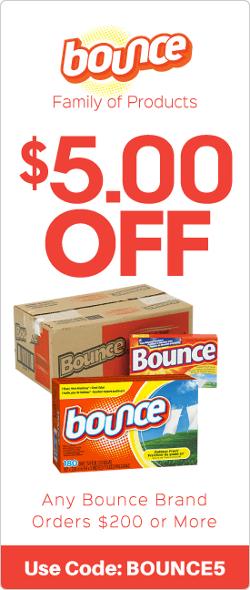 $5.00 off any Bounce brand orders $200 or more