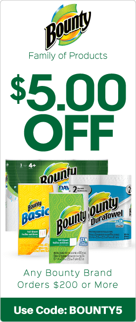 $5.00 off any Bounty brand orders $200 or more
