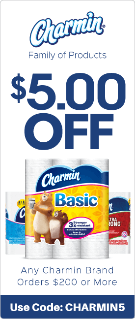 $5.00 off any Charmin brand orders $200 or more