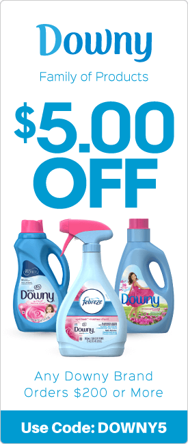 $5.00 off any Downy brand orders $200 or more