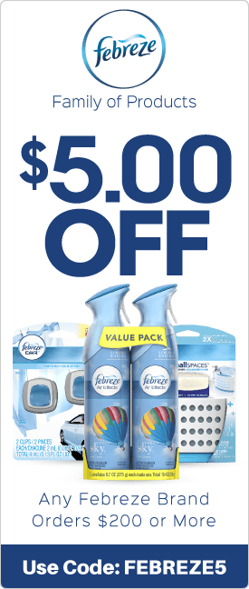 $5.00 off any Febreze brand orders $200 or more