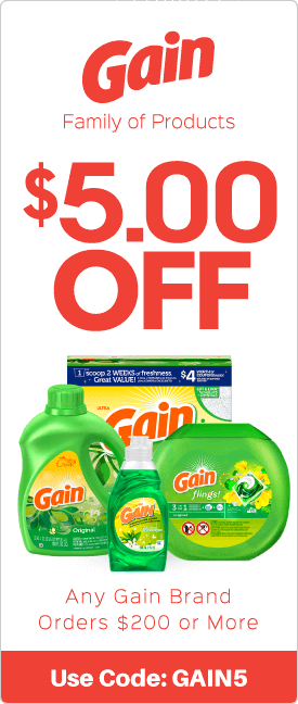 $5.00 off any Gain brand orders $200 or more