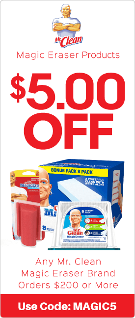 $5.00 off any Mr. Clean brand orders $200 or more