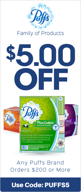 $5.00 off any Puffs brand orders $200 or more