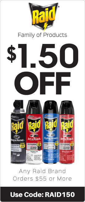 $1.50 off any Raid brand orders $55.00 or more