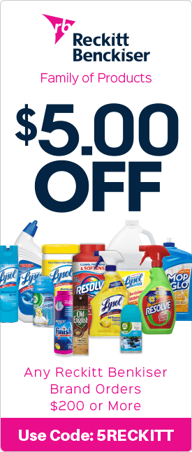 $5.00 off any Reckitt Benkiser brand orders $200 or more