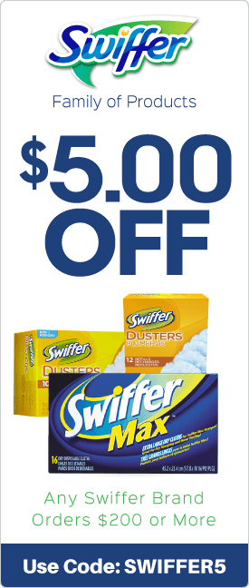$5.00 off any Swiffer brand orders $200 or more