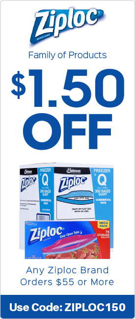 $1.50 off any Ziploc brand orders $55.00 or more